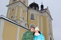 Zrekonstruovaný kostel si přišli prohlédnout i Jan Henžel s přítelkyní Hankou Buštovou.