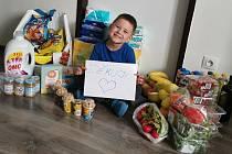 Balíček obsahující základní potraviny, sladkosti pro děti, prací prášek i mycí prostředky v hodnotě 3 tisíce korun lze žádat pro každé nezletilé dítě celkem čtyřikrát.