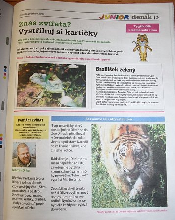 Junior Deník přinese pravidelně zajímavosti ozvířatech ze Zoo Ohrada.