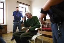 """""""Úmyslně jsem ji nezabil,"""" řekl muž odsouzený za vraždu své matky před soudem, kam jej vězeňská služba dopravila na invalidním vozíku. Ve vazbě podstoupil operaci srdce, kdy mu lékaři do těla vložili kardiostimulátor."""