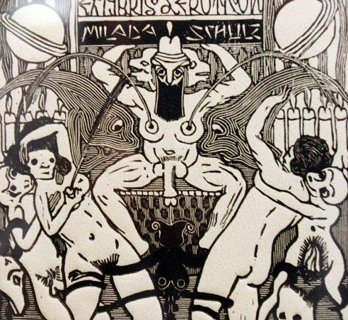 Egon Schiele Art Centrum vČeském Krumlově otevřelo pět výstav pod názvem Mysterium Šumava. Hlavní expozice představuje dílo Josefa Váchala (1884 - 1969). Na snímku jedna zjeho ex libris.