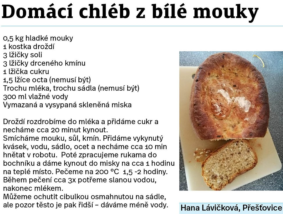 Domácí chléb z bílé mouky.