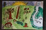 Žáci 2.A lišovské základní školy kreslili jaro. Na snímku obrázek Filipa Šetka.