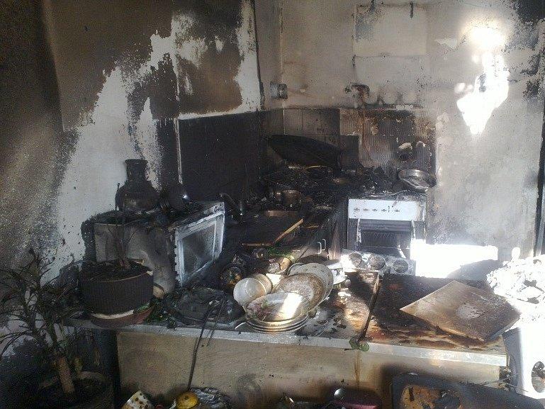 Požár bytu v Ledenicích.