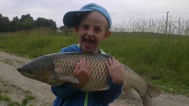 Lukášek Koňarík (4,5 roku) ze Sedlce se raduje z úlovku. Amur měřil 71 cm a vážil 6 kg.