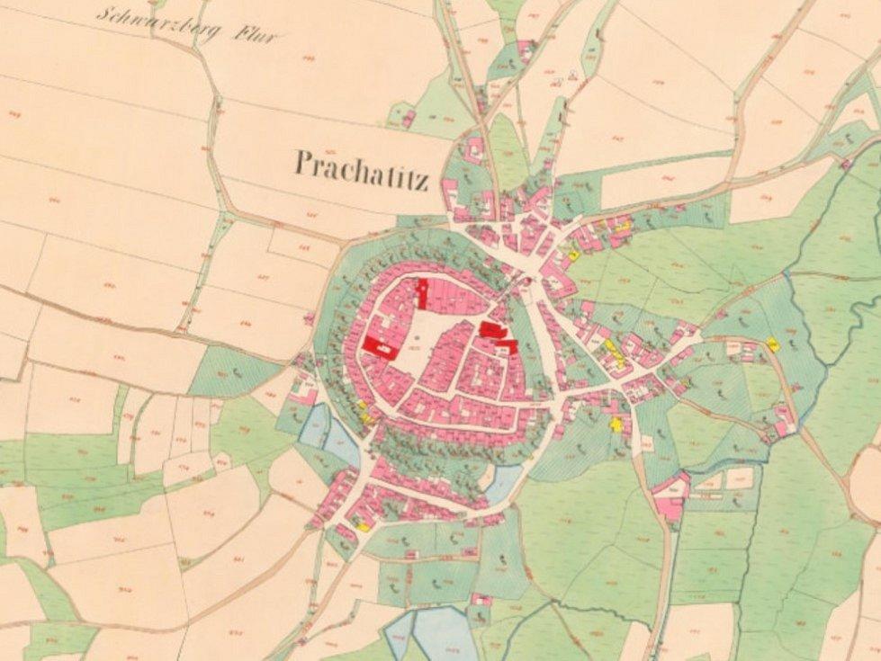 Stará katastrální mapa Prachatic.