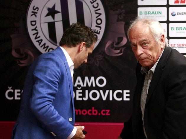 Karel Poborský a František Cipro na předligové tiskovce Dynama.