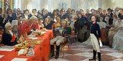 Alšova jihočeská galerie otevřela na Hluboké výstavu Ilja Repin a ruské umění. Nabízí přes 100 prací, potrvá do 27. září. Na snímku obraz A. S. Puškin v lyceu 8. ledna 1815 recituje svou poemu Vzpomínky v Carském Sele, autor Ilja Repin.