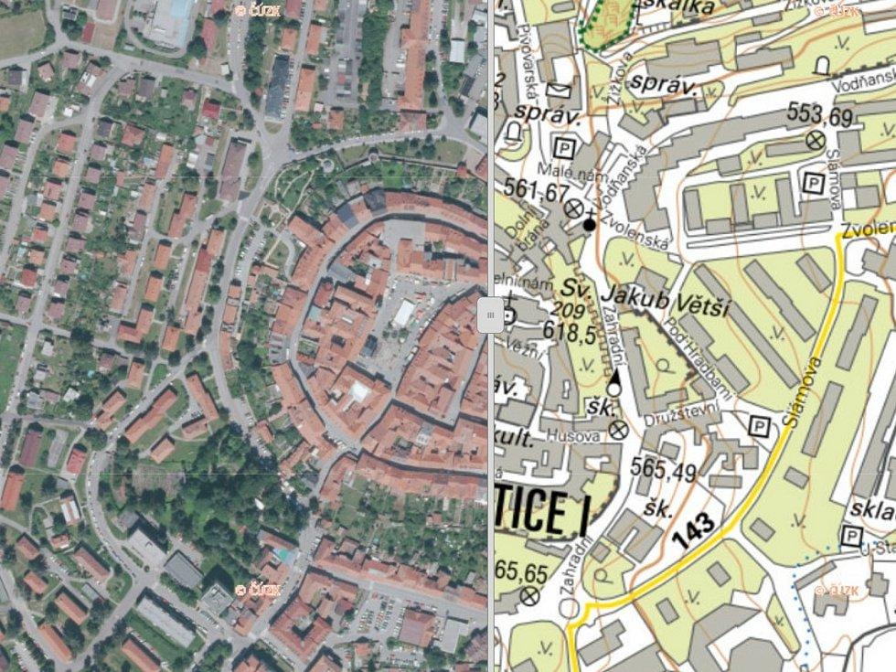 Na Geoportálu Jihočeského kraje najdete také krajské ortofotomapy a místopisné mapy, na snímku jsou Prachatice.