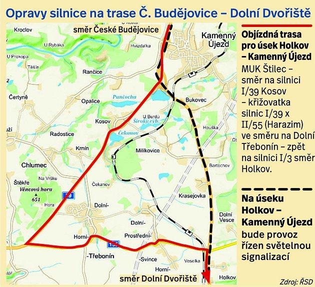 Opravy silnice natrase Č. Budějovice – Dolní Dvořiště