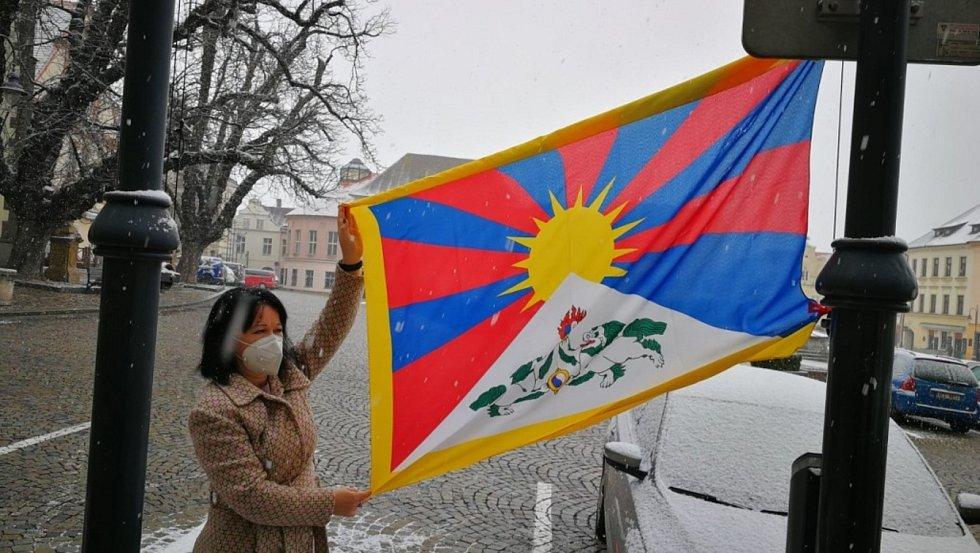 Vlajky pro Tibet zavlály i v jižních Čechách. Tábor. Foto: MěÚ Tábor