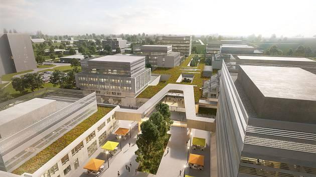 Novou podobu má do budoucna dostat Biologické centrum Akademie věd České republiky v Českých Budějovicích. Proměnit se má areál vědců ve 20 letech. Vizualizace: ATELIER 8000