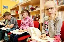Maraton ve čtení dlouhý 24 hodin pořádala knihovna v Malšicích na Táborsku, vznikl jihočeský rekord. Na snímku vpravo Tereza Hurtová, vášnivá osmiletá čtenářka, která chodí do knihovny obden a od začátku školního roku přečetla asi 25 knih.