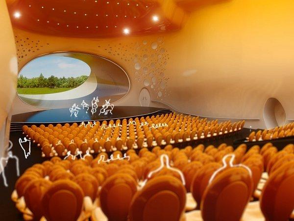 Vizualizace jednoho ze sálů rejnoka podle návrhu Jana Kaplického.
