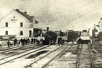 Staré budějovické nádraží v roce 1868.