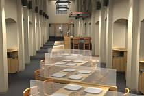 Obrázek ukazuje uspořádání stolů v hlavní části zrekonstruovaných Masných krámů. V jednotlivých kójích nebudou chybět ani malované fresky s motivy starého města.