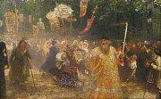 Alšova jihočeská galerie otevřela na Hluboké výstavu Ilja Repin a ruské umění. Nabízí přes 100 prací, potrvá do 27. září. Na snímku Repinův obraz Křížové procesí v dubovém lese, zápůjčka z Galerie moderního umění v Hradci Králové.
