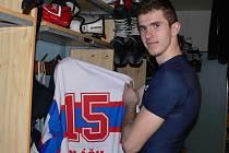 Obránce HC ČB Karel Plášil na turnaji pěti vymění klubový dres za reprezentační.