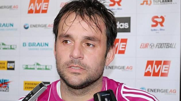 Tomáš Hunal po zápase s Libercem mezi novináři.