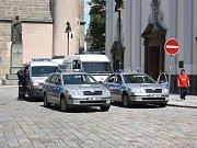 Bezpečnostní opatření v Českých Budějovicích v sobotu 13. července.