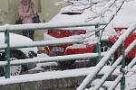 Sníh v Českých Budějovicích.
