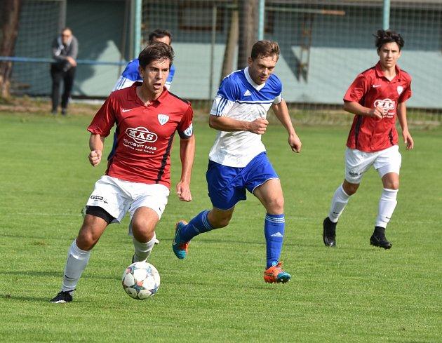 Marek Novák minule v krajském přeboru v zápase Táborsko B - Hluboká (6:1) dal dva ze šesti gólů vítězů.