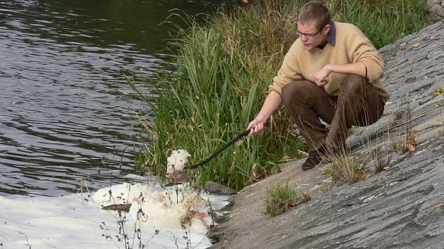 Také pod českobudějovickým Malým jezem na řece Malši mohli ve čtvrtek obyvatelé pozorovat bílé polštářky z pěny. Ta ale podle odborníků není vůbec nebezpečná.