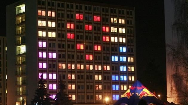 Light show na kolejích Jihočeské univerzity.