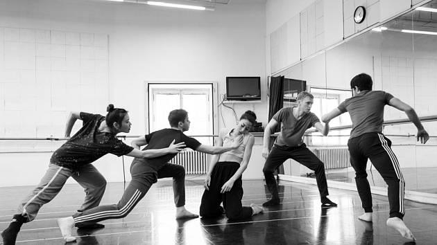 Angel Dust. Tanečníci zkouší kus Zdeňka Mládka. Zleva: Ayano Nagamori, István Varga, Rosa Maria Pace, Sebastiano Mazzia a Paolo Terranova.