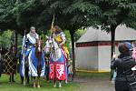 Slavnosti železné a zlaté vyvrcholily v sobotu odpoledne příjezdem krále Přemysla Otakara II. na Sokolský ostrov v Českých Budějovicích.