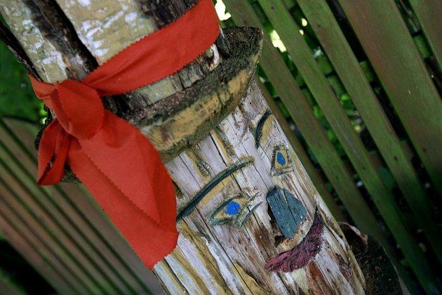 Petr Vitoň má vTřeboni 'zahradní galerii' plnou dřevěných zvířat. Fotí si je děti idospělí.