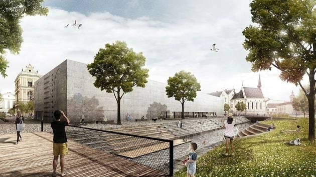 Nová budova Alšovy galerie by mohla vyrůst na Senovážném náměstí, kde město plánuje postavit podzemní parkoviště. Na snímku diplomní projekt Dům umění České Budějovice.