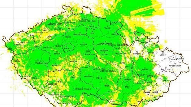 Zelená barva ukazuje aktuální ideální pokrytí signálem ČRo Plus.