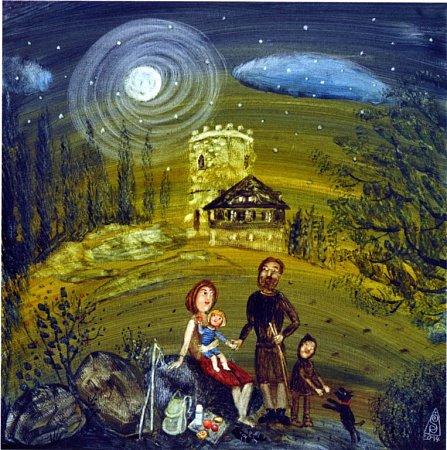 Hora Kleť vábí malíře přes dvě století. Na snímku obraz Noční výstup, který namalovala Renata Štolbová.
