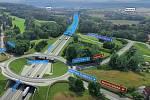 Vizualizace D3. Křížení Hodějovice. Dálnice tam povede pod okružní křižovatkou a také pod novým železničním mostem.