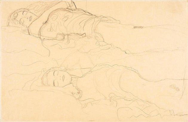 Klimtovy Dvě ležící.