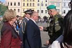 Slavnostní akt a položení věnců k pomníku T.G. Masaryka na českobudějovickém náměstí ke Dni vzniku samostatného československého státu.