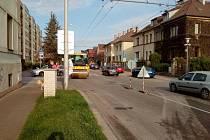 Uzavírka Novohradské ulice v Českých Budějovicích.