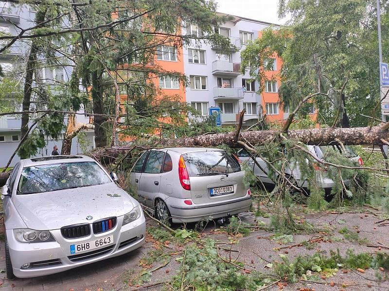Následky bouřky v Českých Budějovicích.