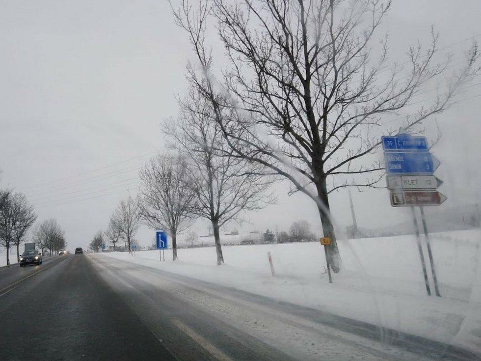 Sněhové jazyky u Přísečné u Českého Krumlova.