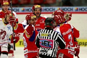 Utkání hokejové Tipsport Extraligy mezi HC České Budějovice a HC Oceláři Třinec.