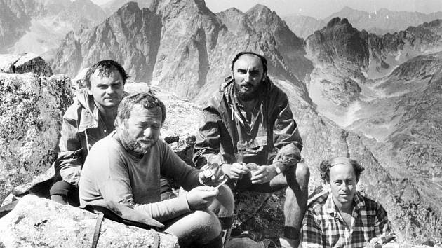 Meteor na Rysech - zleva Petr Hušák, Vladimír Majer, Josef Vondrášek, Jaroslav Pešek.