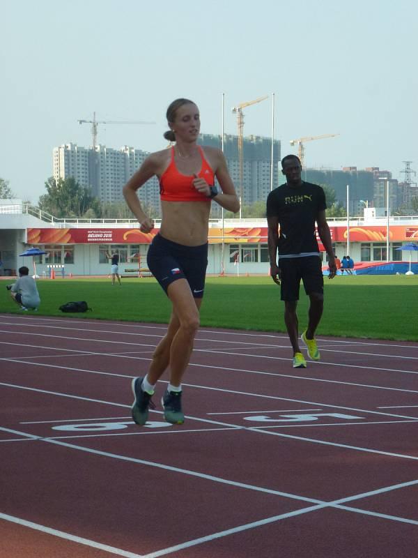Lucie Sekanová v Pekingu, její trénink si prohlédl Bolt