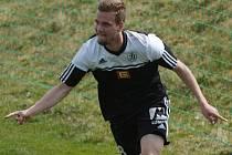 Petr Pasecký se raduje ze svého vítězného gólu proti Liberci.