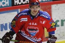 František Ptáček se v pátek poprvé objevil v dresu HC Mountfield v extraligovém duelu proti Znojmu.