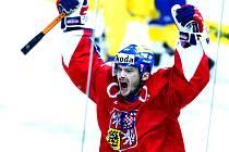 Takhle hokejista Ufy Leoš Čermák jásal v dresu české reprezentace.