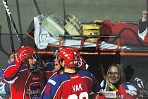 Dát gól Slovanu Bratislava v Lize mistrů byl pro Romana Horáka (na snímku s mřížkou) zážitek! V extralize mladík na svoji první trefu čeká, zato v juniorce je momentálně nejproduktivnějším hráčem Českých Budějovic. Jeho snem je zámořská NHL.