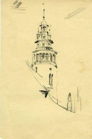 Kresba krumlovské věže, rok 2005, nakreslil ji Jan Cihla.