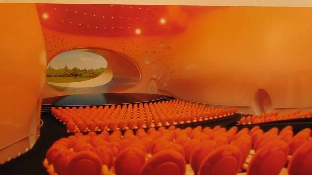 Zvenčí elegantní oblý tvar, který díky černé barvě připomíná rejnoka, zevnitř pak dva koncertní sály v jasných barvách (na snímku vizualizace jednoho ze sálů) a další zázemí. Tak by měl rejnok vypadat.