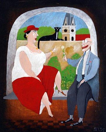 Malíř a scénograf Tomáš Paul, který žil poslední léta vTřeboni, zemřel 6.května 2015.Bylo mu 68let. Na snímku jeden zjeho obrazů.